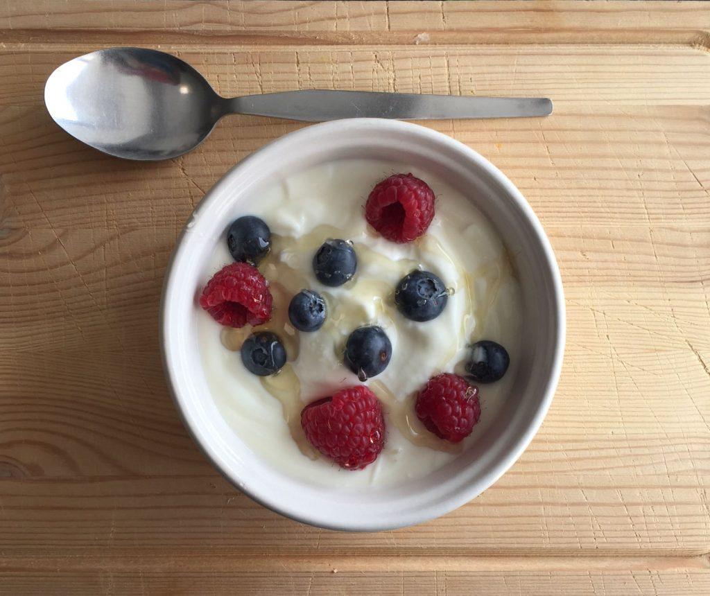 Yogurt, berries and honey