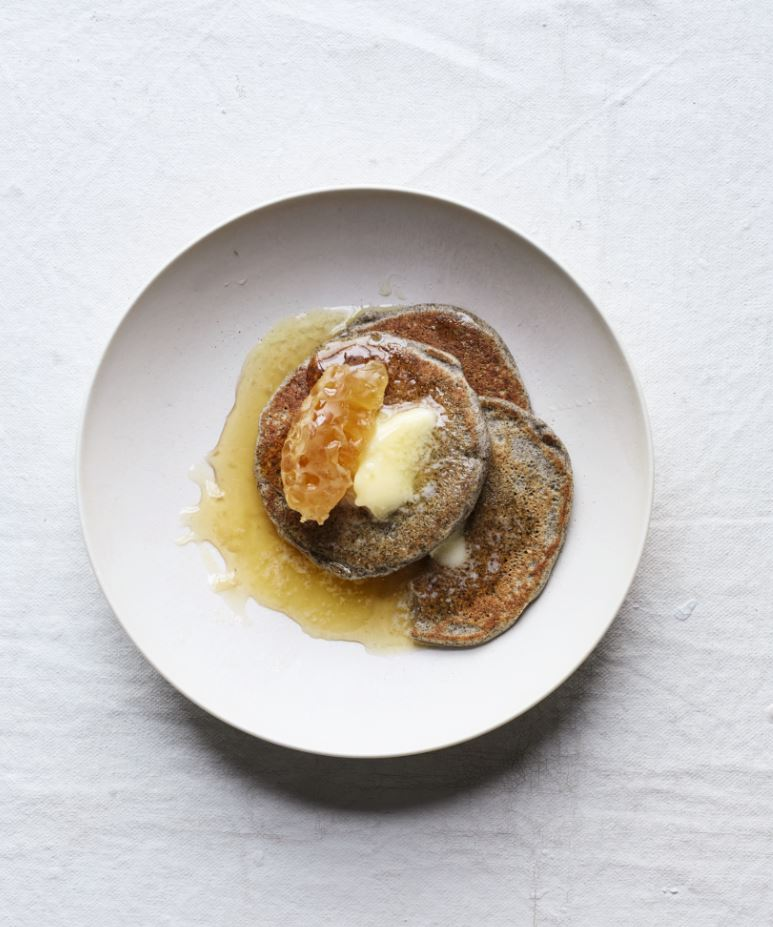 Buckwheat Pancakes with Salted Butter and Honey