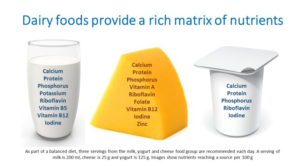 Nutritional contribution of milk, yogurt and cheese